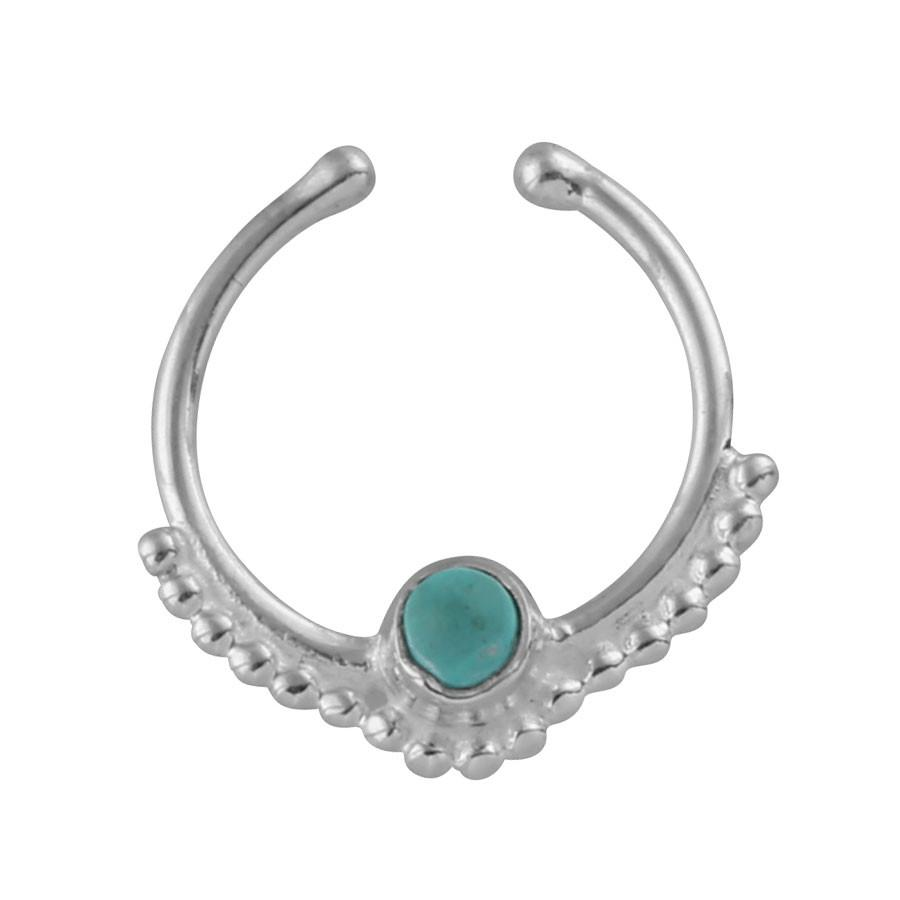 Gypsy - Turquoise Crystal Faux Septum Ring - Sterling Silver-Faux Septum Ring-House of Alchemy
