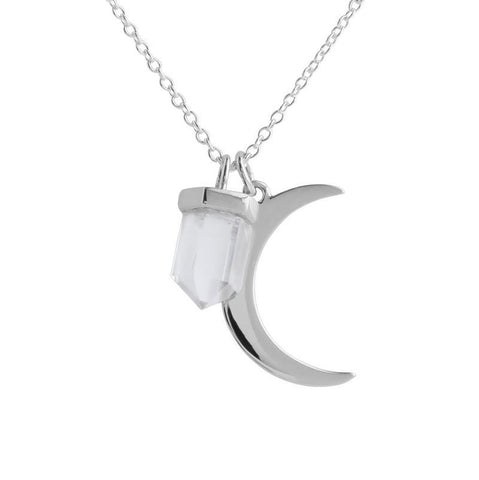 Clear Quartz Crystal & Crescent Moon Charm Necklace - Sterling Silver