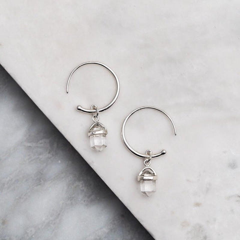 Clear Quartz Crystal Hoop Earrings - Sterling Silver