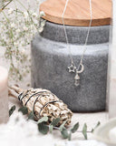 Clear Quartz Crystal Star & Moon Charm Necklace - Sterling Silver