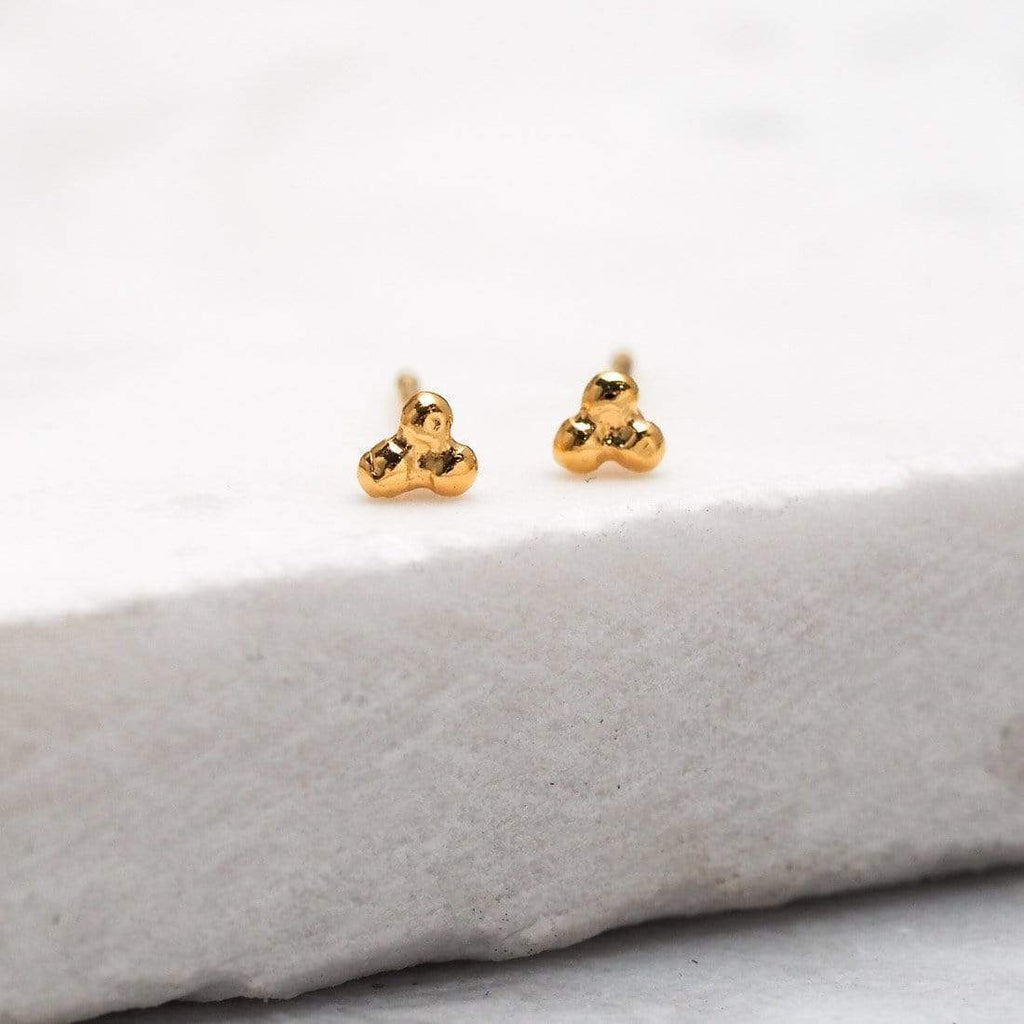 Tri-Dot Stud Earring - 18k Gold Vermeil-Earrings-House of Alchemy