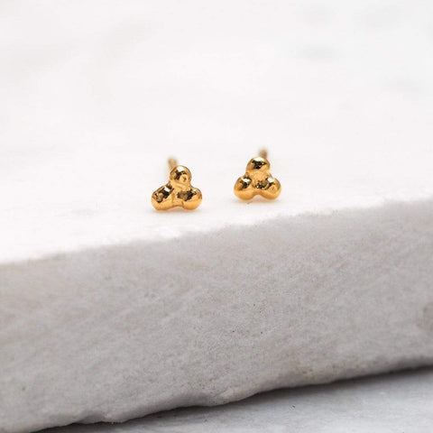 Tri-Dot Stud Earring - 18k Gold Plated