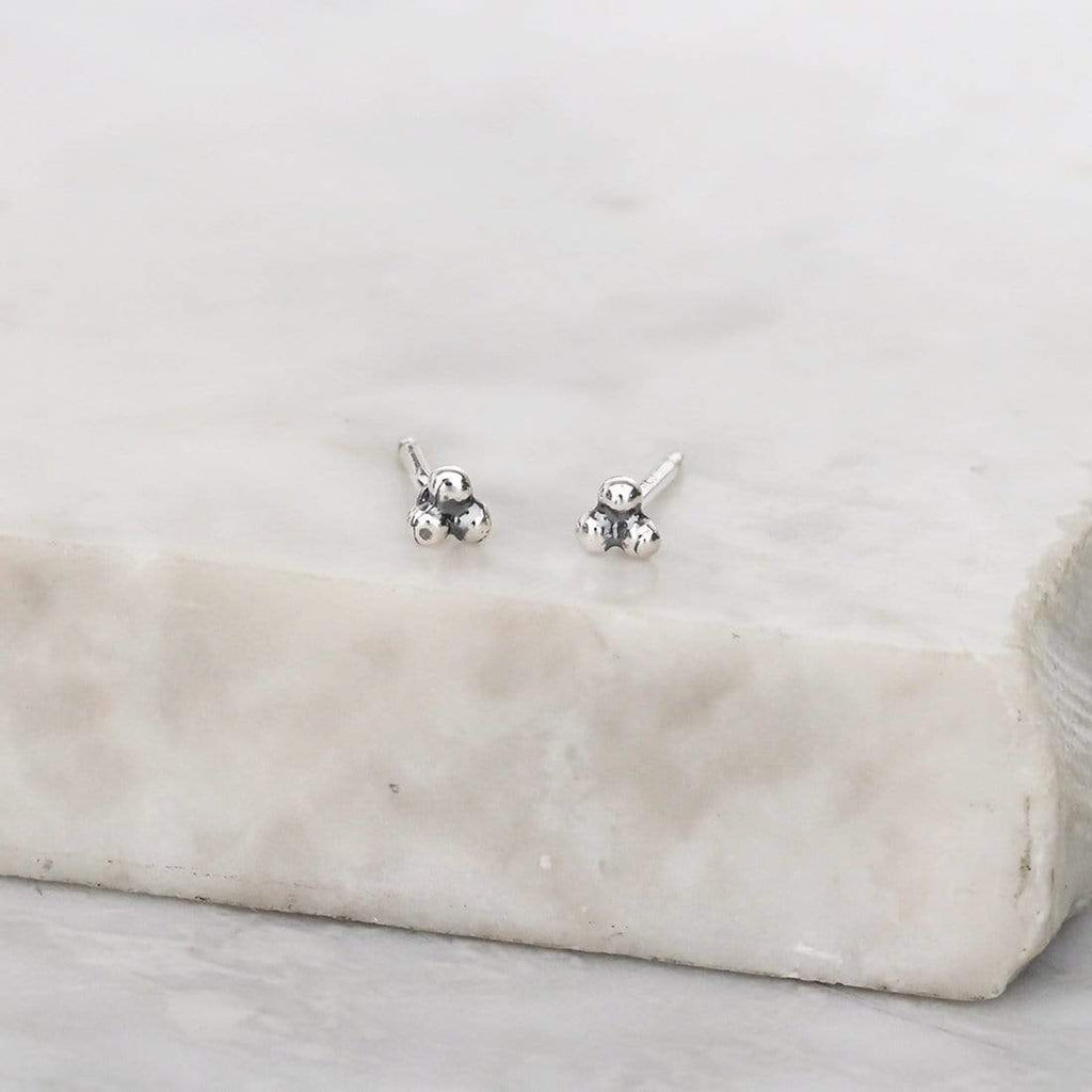 Tri-Dot Stud Earring - Sterling Silver-Earrings-House of Alchemy