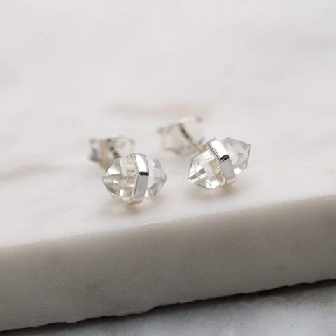 Mini Clear Crystal Quartz Double Terminated Stud Earrings - Sterling Silver