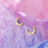 Crescent Moon Earring Studs With Cubic Zirconia - 18k Gold Vermeil