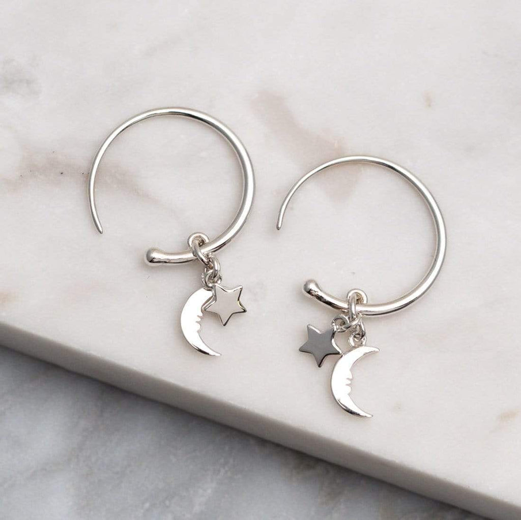 Crescent Moon Face Hoop Earrings - Sterling Silver-Earrings-House of Alchemy