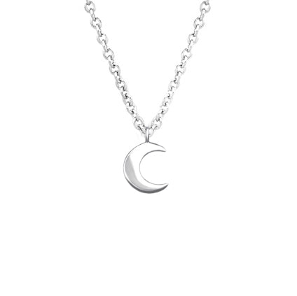 Crescent Moon Charm Necklace - Sterling Silver