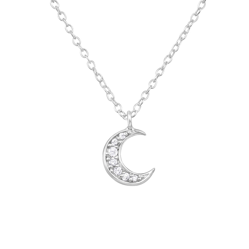Crystal Crescent Moon Necklace - Sterling Silver-Necklaces-House of Alchemy