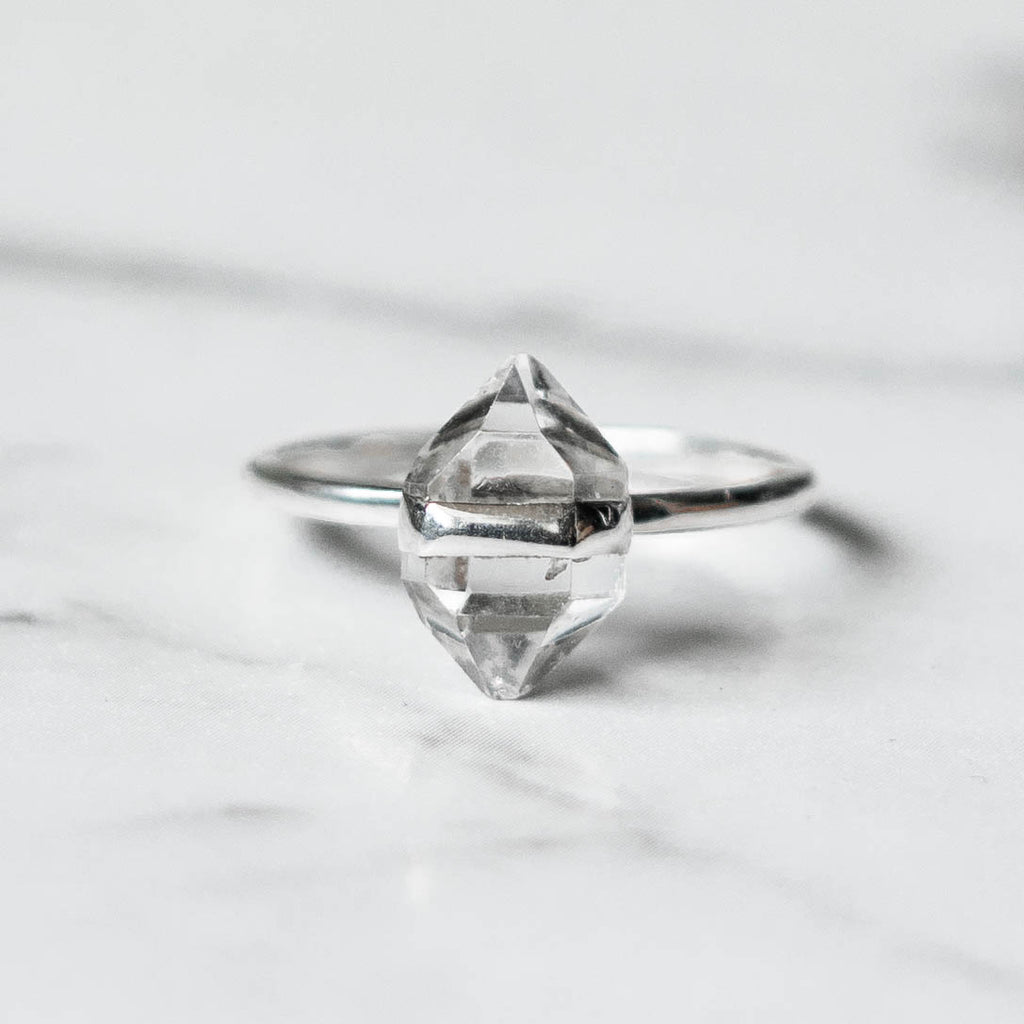 Herkimer Diamond Ring - Sterling Silver Band