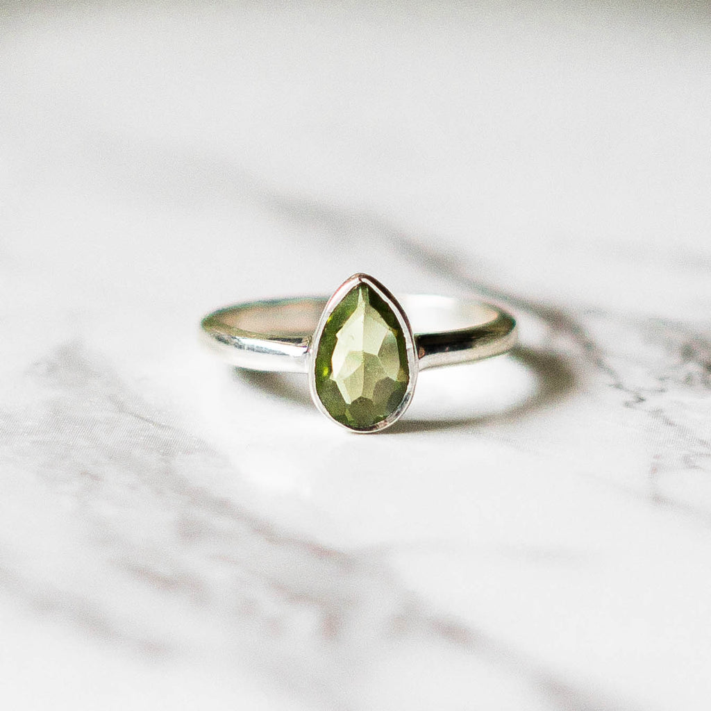 Tear Drop Peridot Ring - Sterling Silver-Rings-House of Alchemy