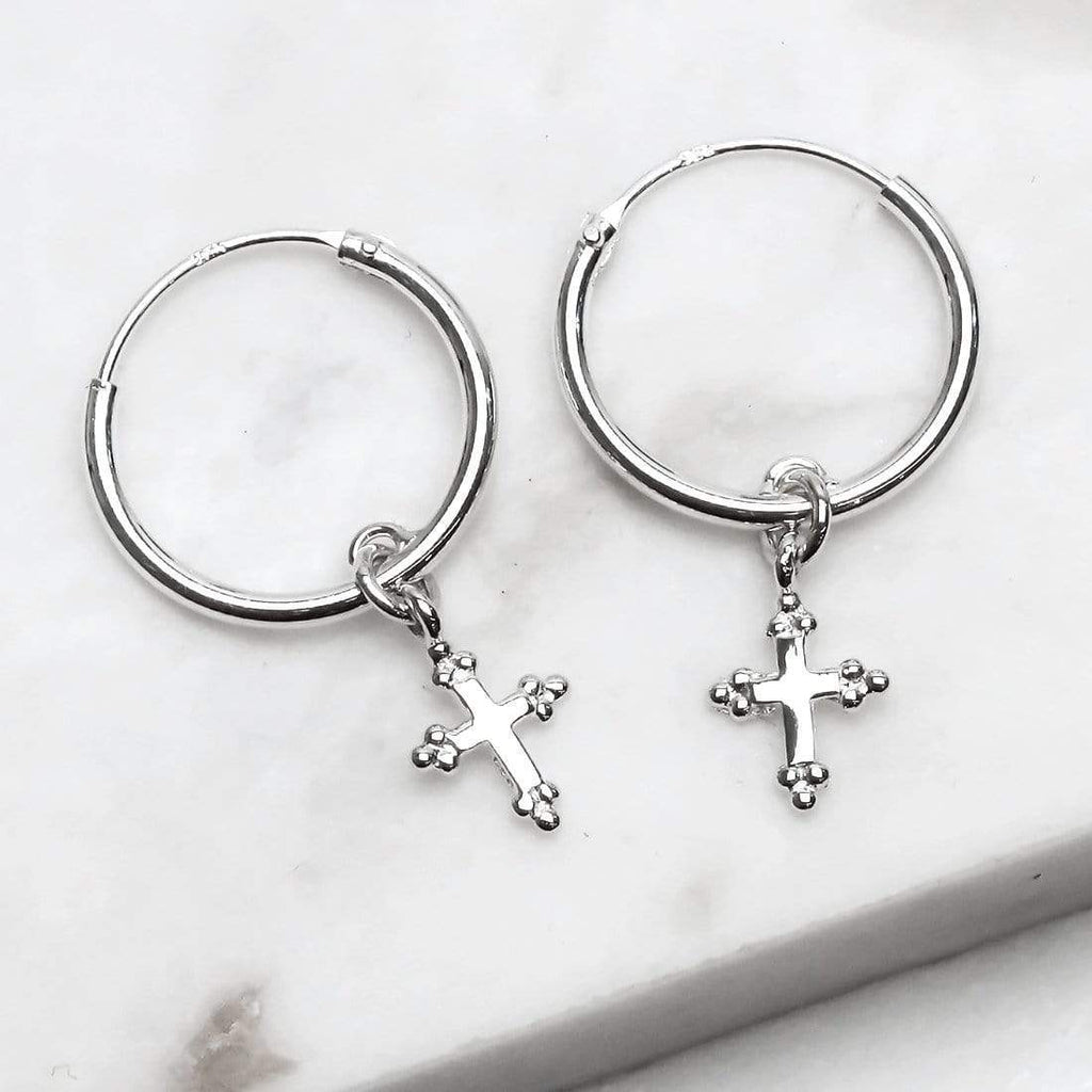 Cross Sleeper Earrings - Sterling Silver-House of Alchemy
