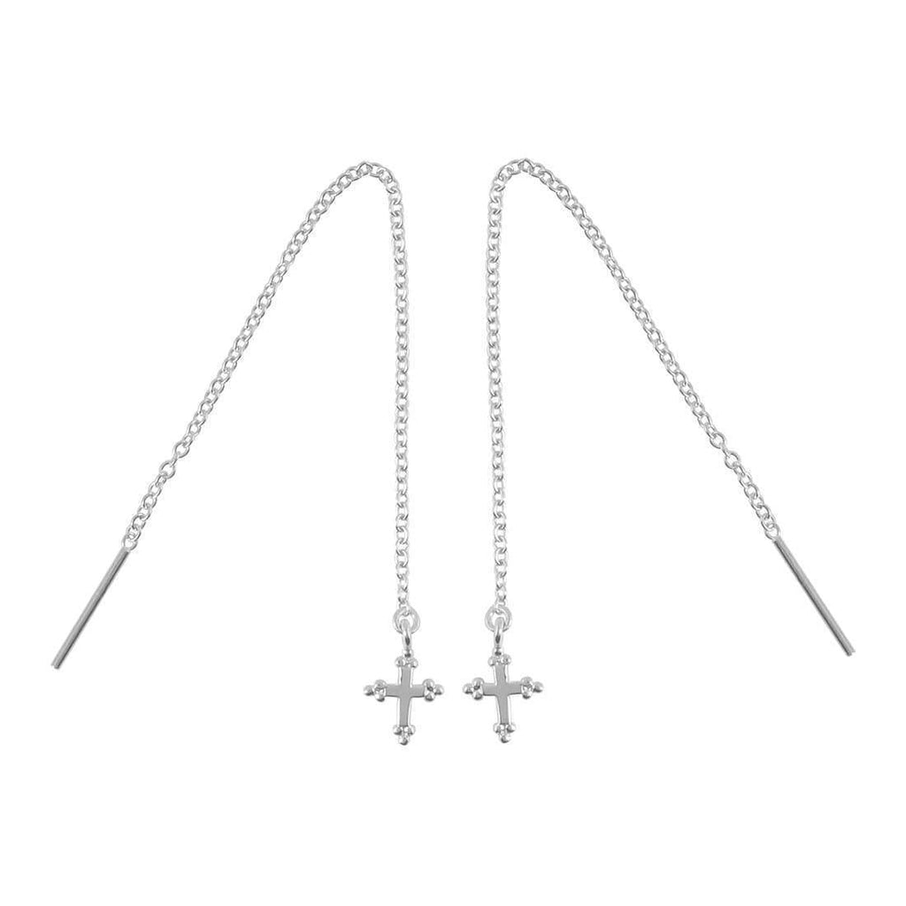 Detailed Cross Threader Earrings - Sterling Silver-Earrings-House of Alchemy