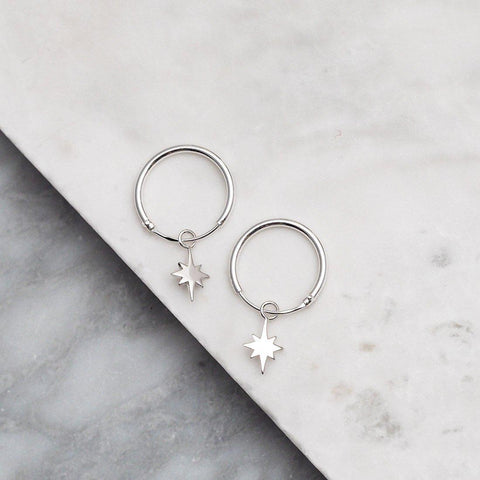 North Star Sleeper Earrings - Sterling Silver