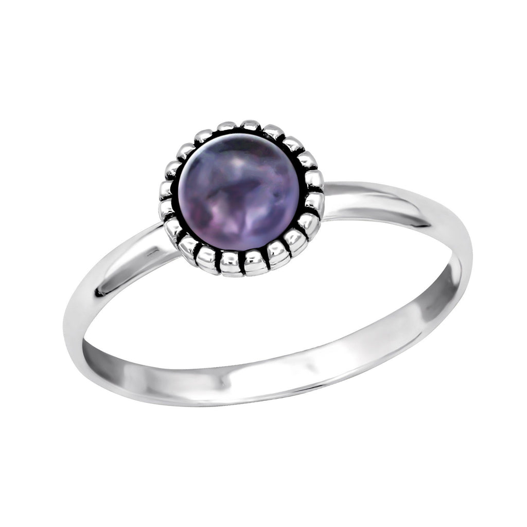 Floral Bohemian Amethyst Ring - Sterling Silver-Rings-House of Alchemy
