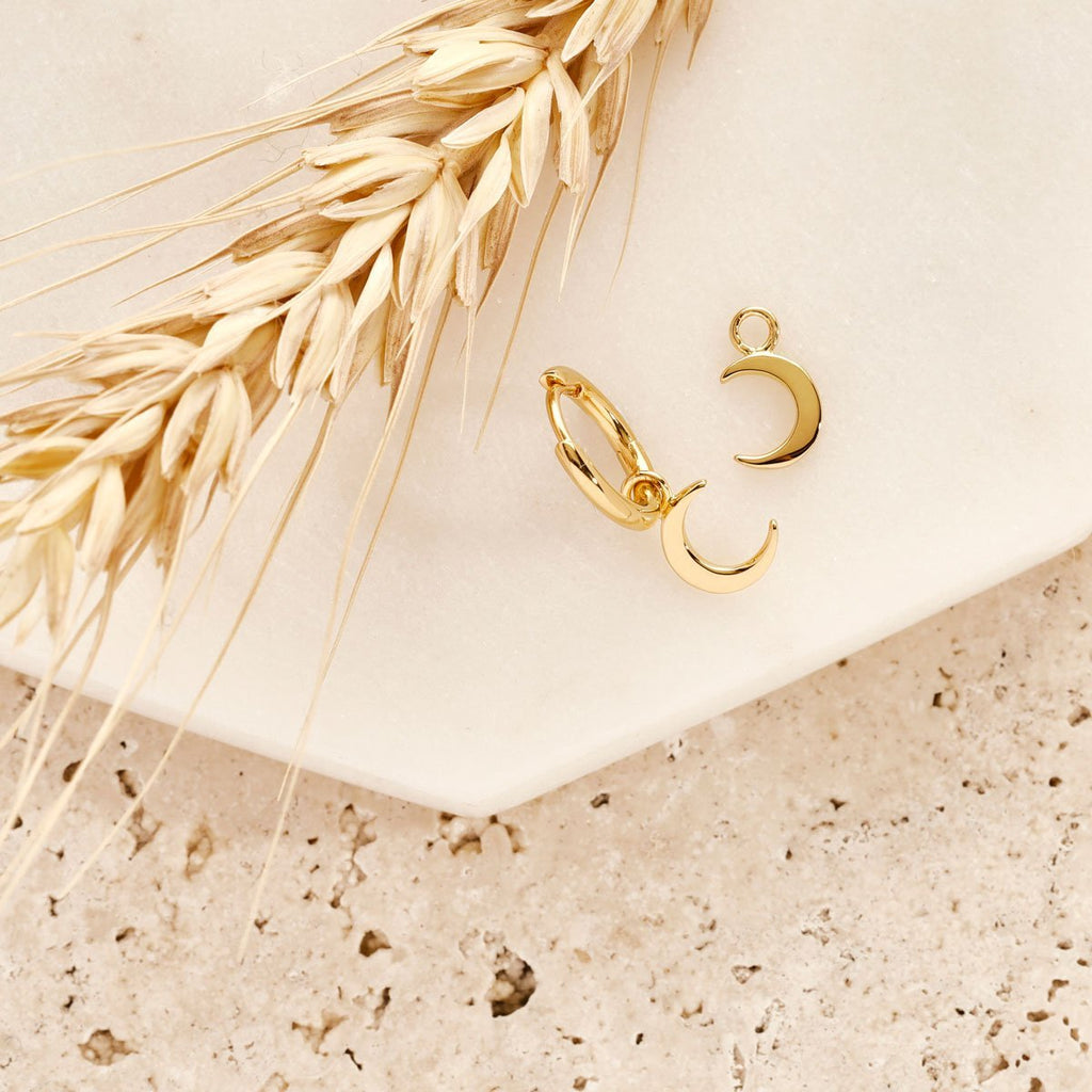Gold Crescent Moon Earring Charm - Gold Vermeil-Earrings-House of Alchemy