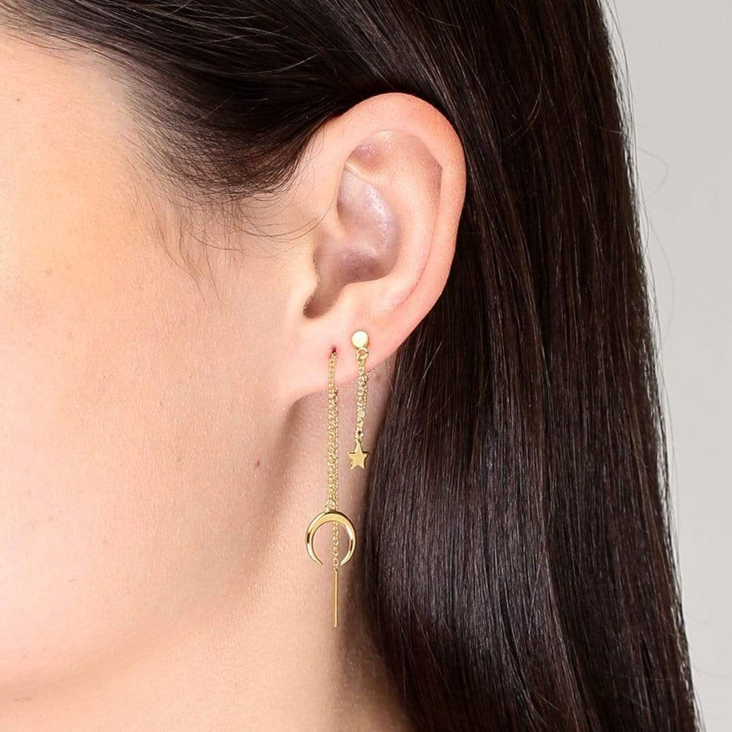 Hanging Moon Drop Threader Earrings - 18k Gold Vermeil-Earrings-House of Alchemy
