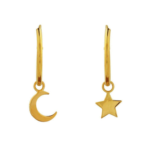 Gold Star & Crescent Moon Sleeper Earrings - 18k Gold