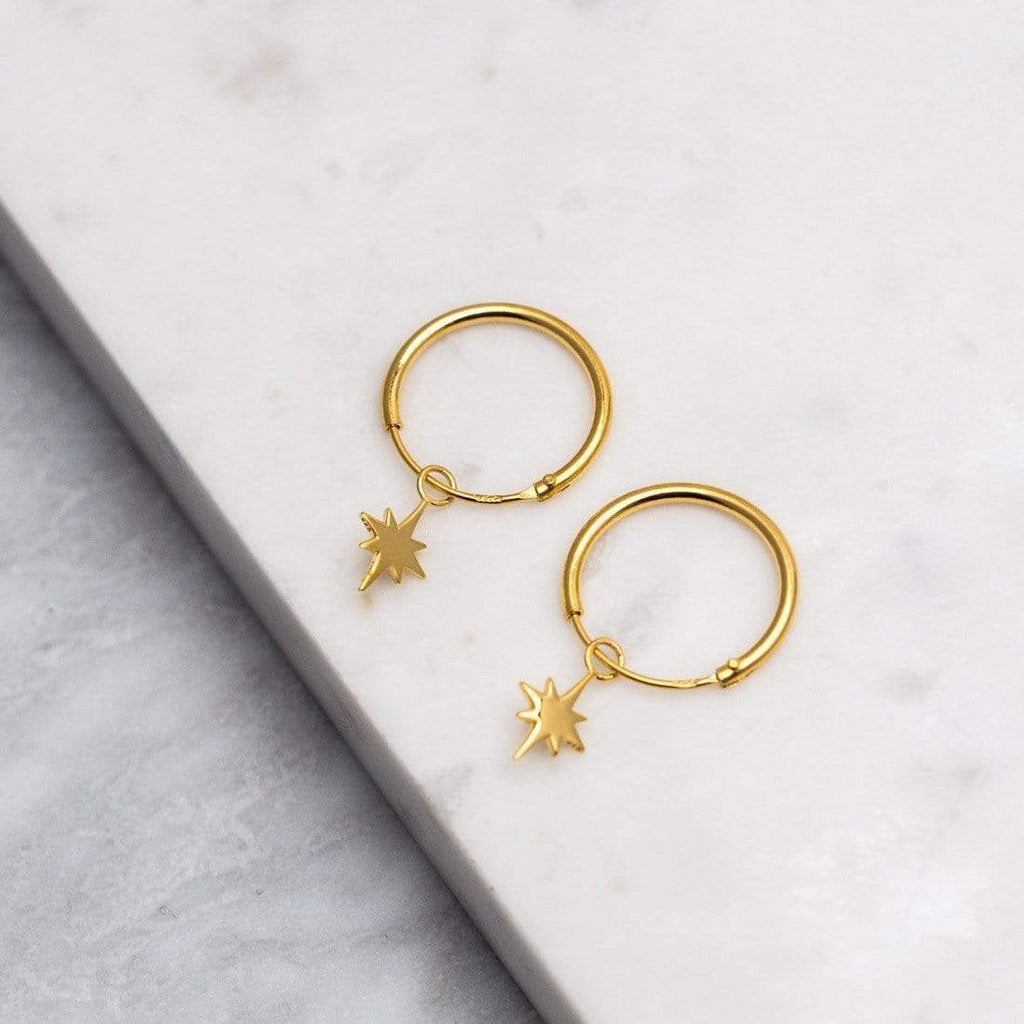 Gold North Star Sleeper Earrings - 18k Gold Vermeil-Earrings-House of Alchemy