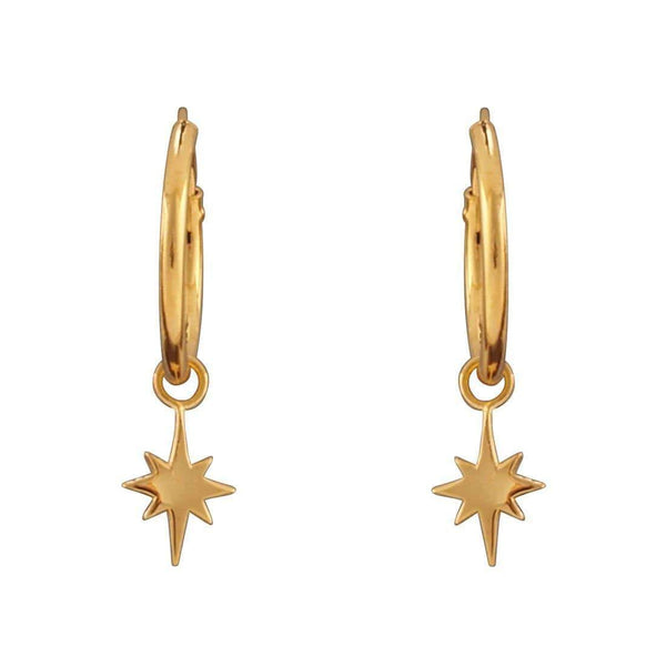Gold North Star Sleeper Earrings - 18k Gold