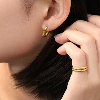 Rectangular Gold Huggie Hoops - 18k Gold Plated-Earrings-House of Alchemy