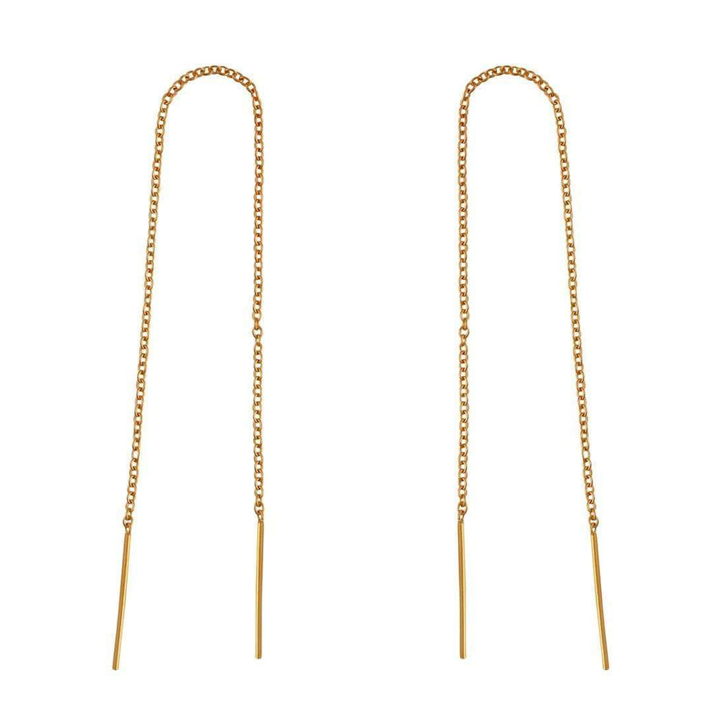 Minimal Bar Threader Earrings - 18k Gold Vermeil-Earrings-House of Alchemy