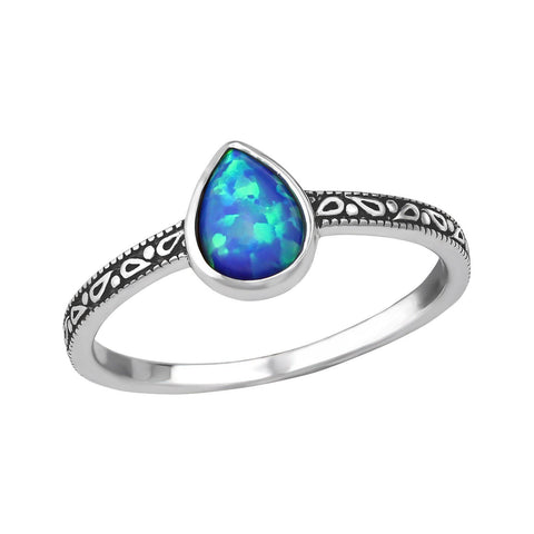 Blue Tear Drop Opal Ring - Sterling Silver
