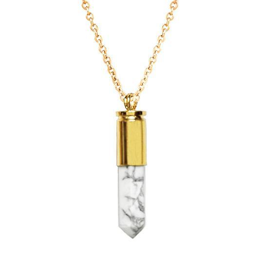 Polished White Marble Necklace - Gold Bullet