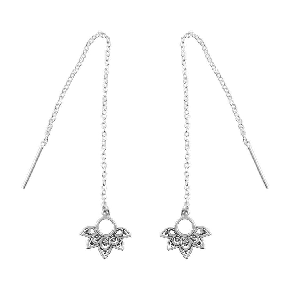 Half Flower Bohemian Threader Earrings - Sterling Silver-Earrings-House of Alchemy