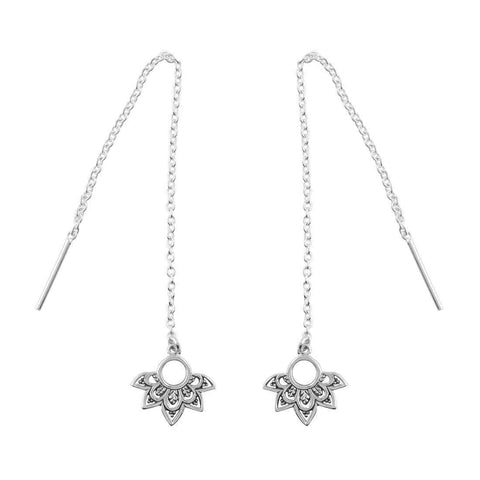 Half Flower Bohemian Threader Earrings - Sterling Silver