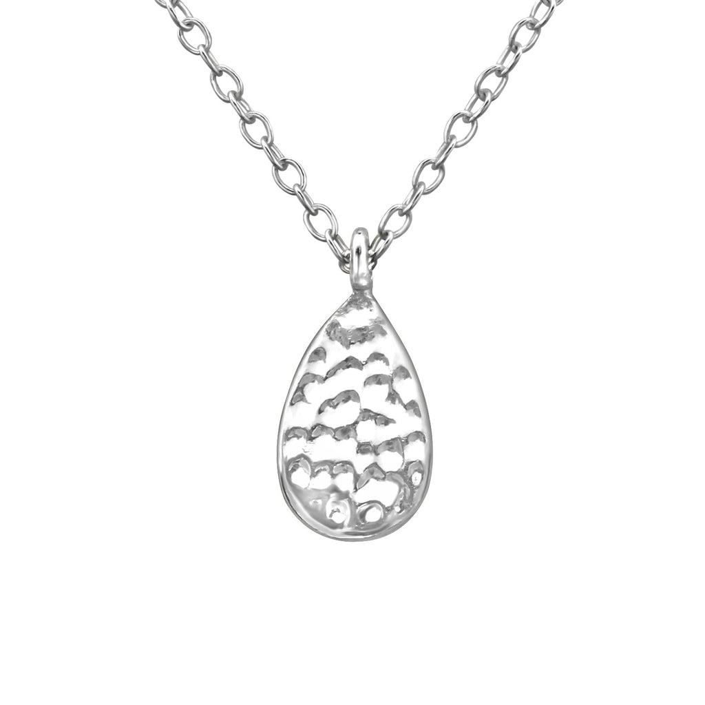 Hammered Teardrop Necklace - Sterling Silver-Necklaces-House of Alchemy