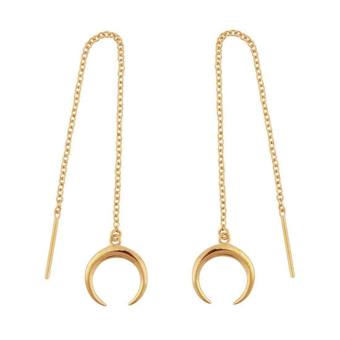 Hanging Moon Drop Threader Earrings - 18k Gold