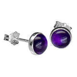 Minimal Round Amethyst Stud Earring - Sterling Silver-House of Alchemy