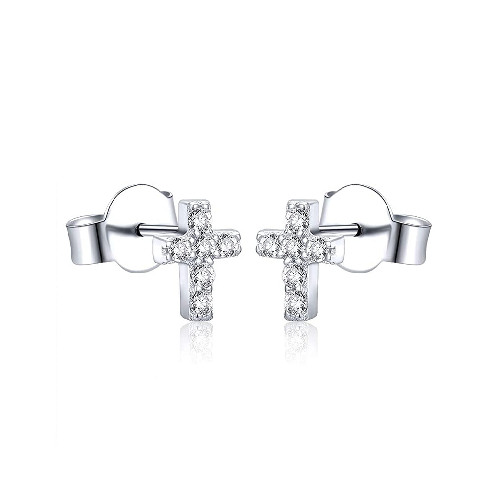 Mini Cross Studs With Cubic Zirconia - Sterling Silver-House of Alchemy