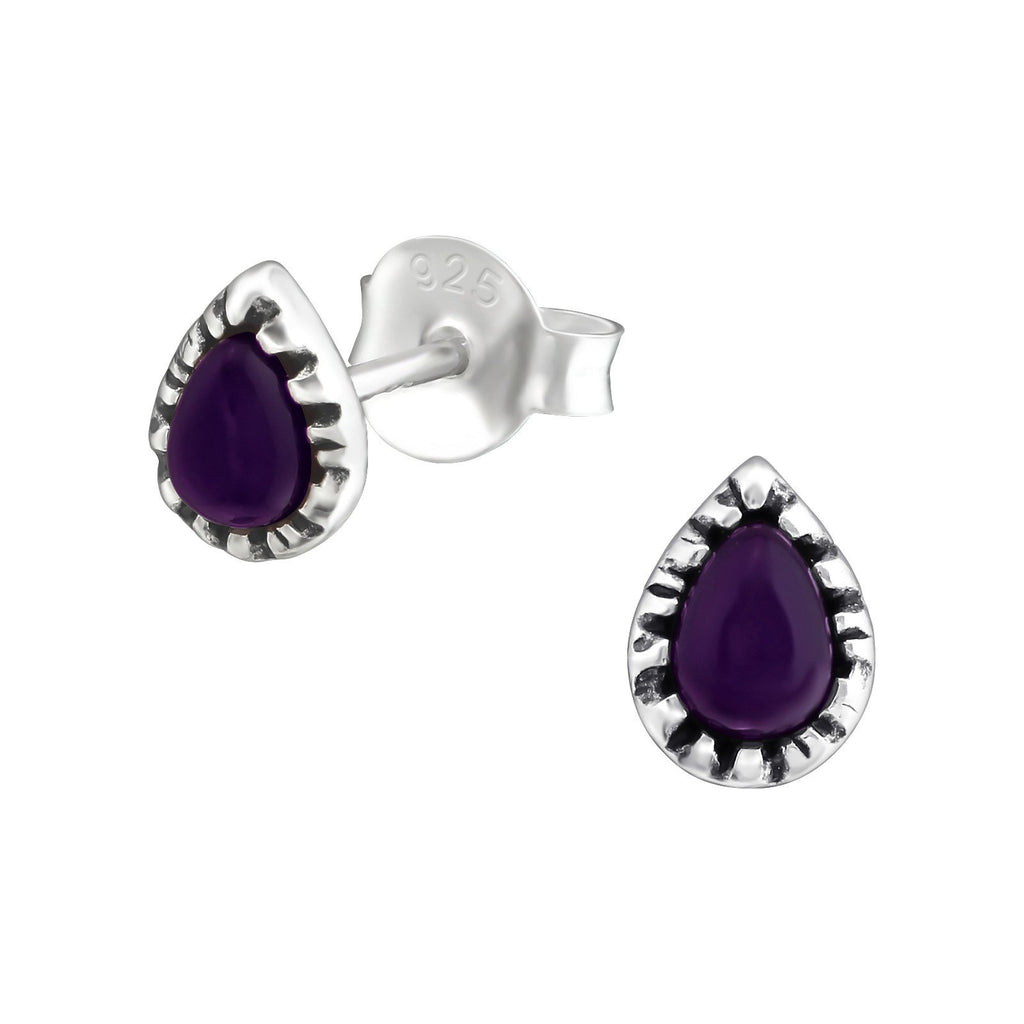 Bohemian Teardrop Amethyst Stud Earring - Sterling Silver-Earrings-House of Alchemy