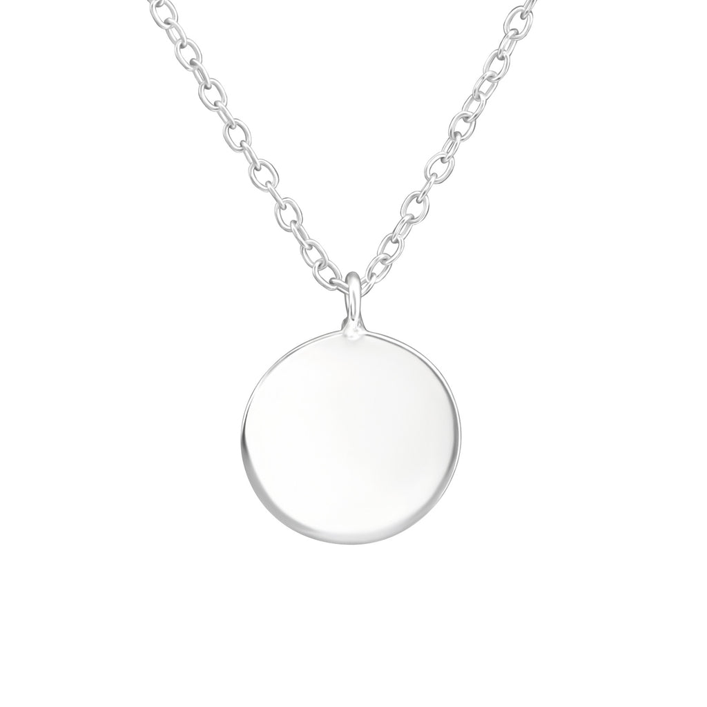 Full Moon Minimal Round Necklace - Sterling Silver