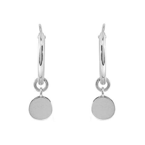Minimal Full Moon Circle Sleeper Earrings - Sterling Silver
