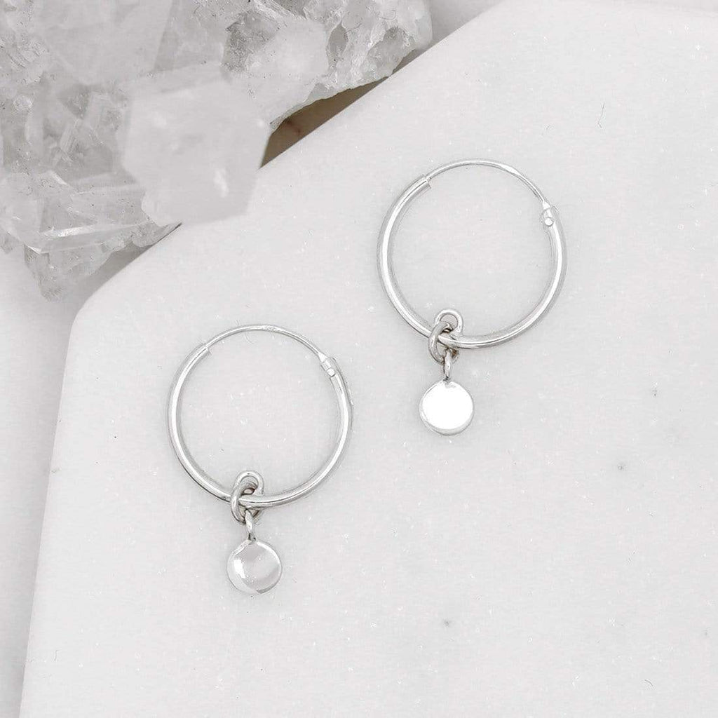Minimal Full Moon Circle Sleeper Earrings - Sterling Silver-Earrings-House of Alchemy