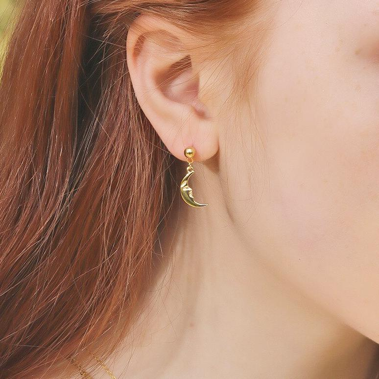 Crescent Moon Face Drop Earrings - 18k Gold Plated