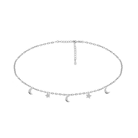 Moon & Star Choker Necklace - Sterling Silver