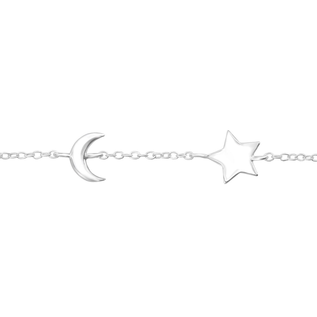 Star & Moon Bracelet - Sterling Silver-Bracelets-House of Alchemy