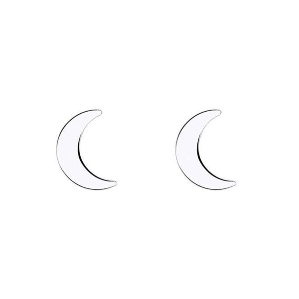 Moon Stud Earrings - Sterling Silver