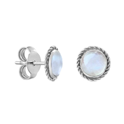Circle Bohemian Moonstone Stud Earrings - Sterling Silver