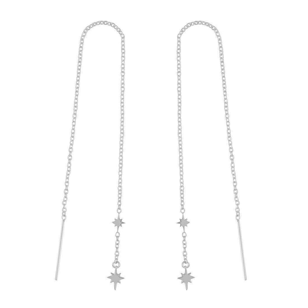North Star Threader Earrings - Sterling Silver-Earrings-House of Alchemy