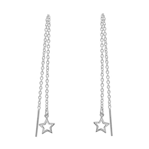 Open Star Threader Earrings - Sterling Silver
