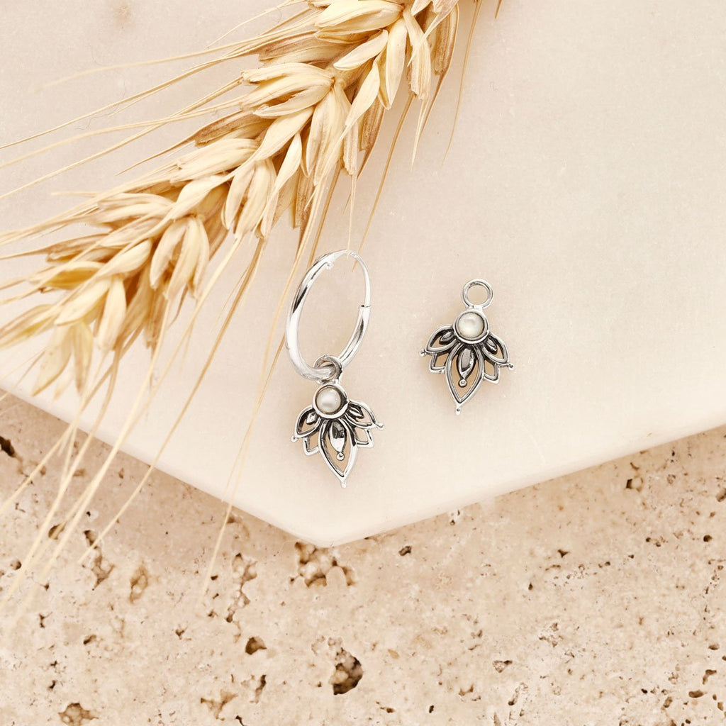 Pearl Flower Earring Charm - Sterling Silver-Earrings-House of Alchemy