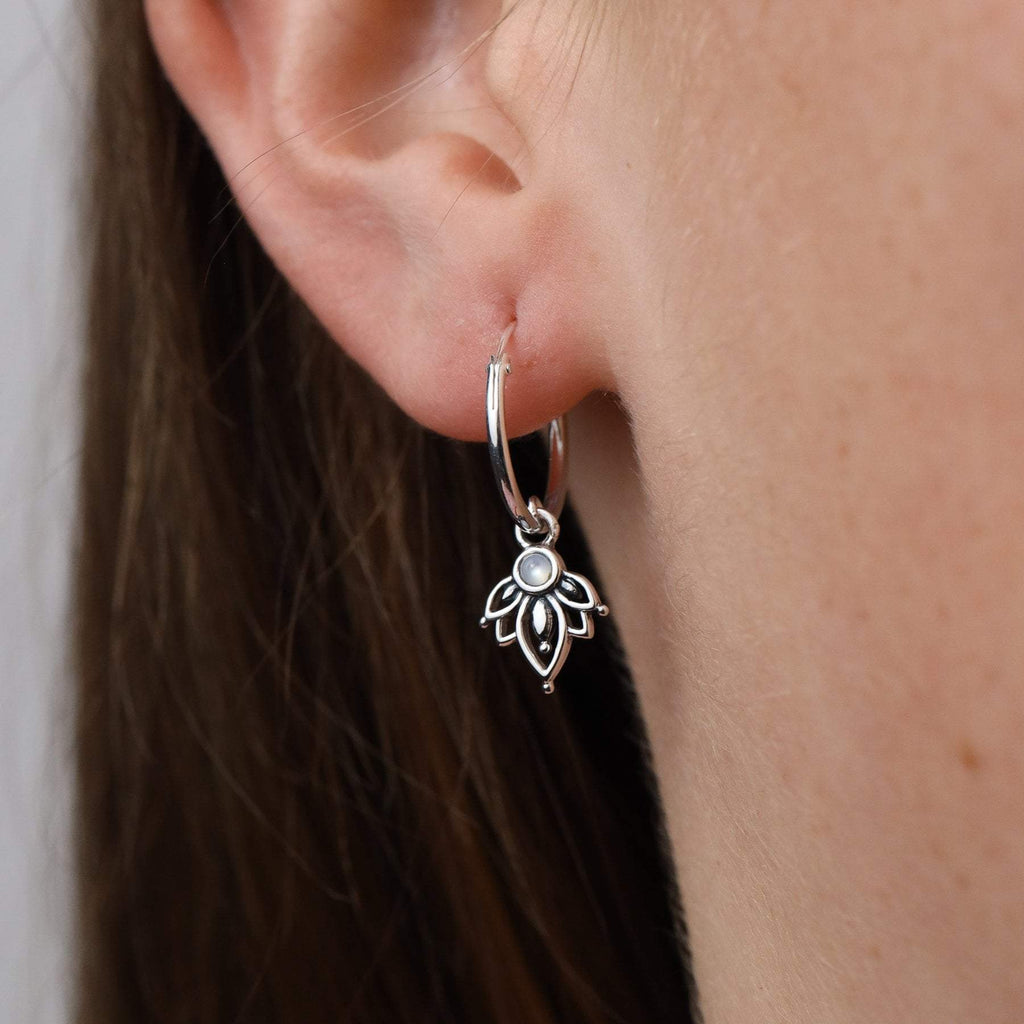 Pearl Flower Sleeper Earrings - Sterling Silver-Earrings-House of Alchemy