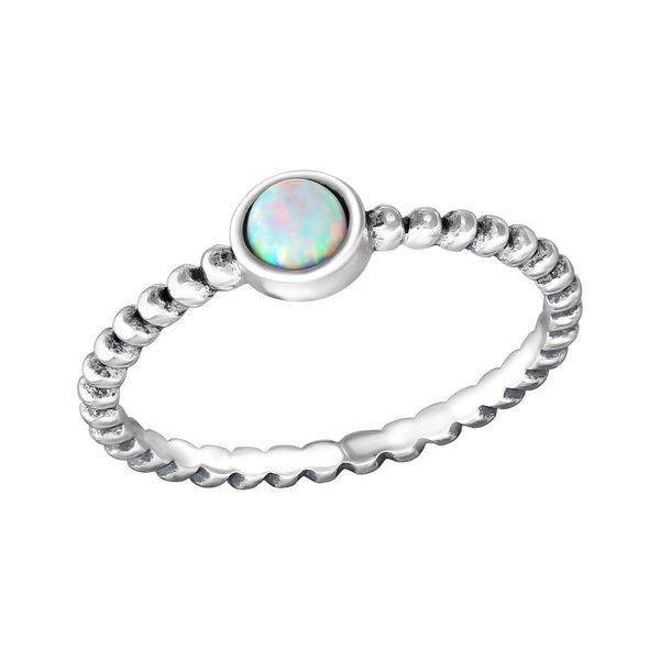 Round Bohemian White Opal Ring - Sterling Silver
