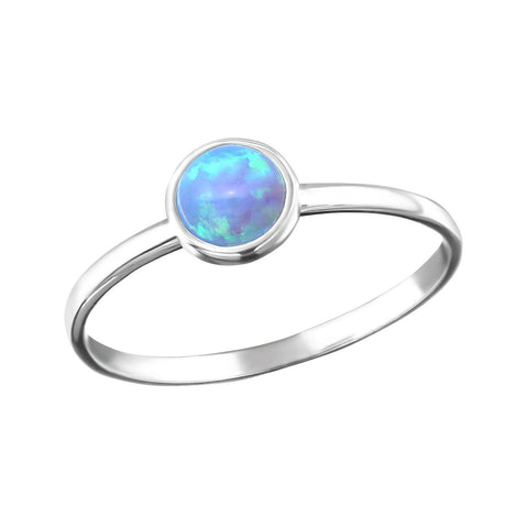 Minimal Round Blue Opal Ring - Sterling Silver