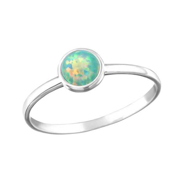 Minimal Round Green Opal Ring - Sterling Silver