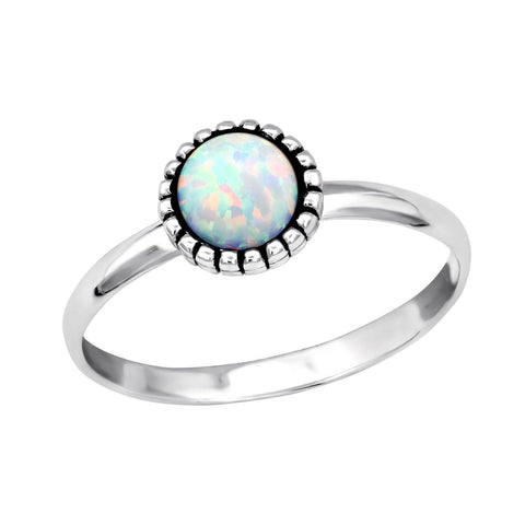 Floral Bohemian White Opal Ring - Sterling Silver